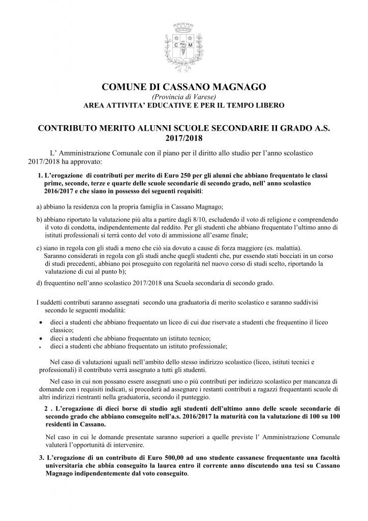 Contributo Merito Scuole Cassano M