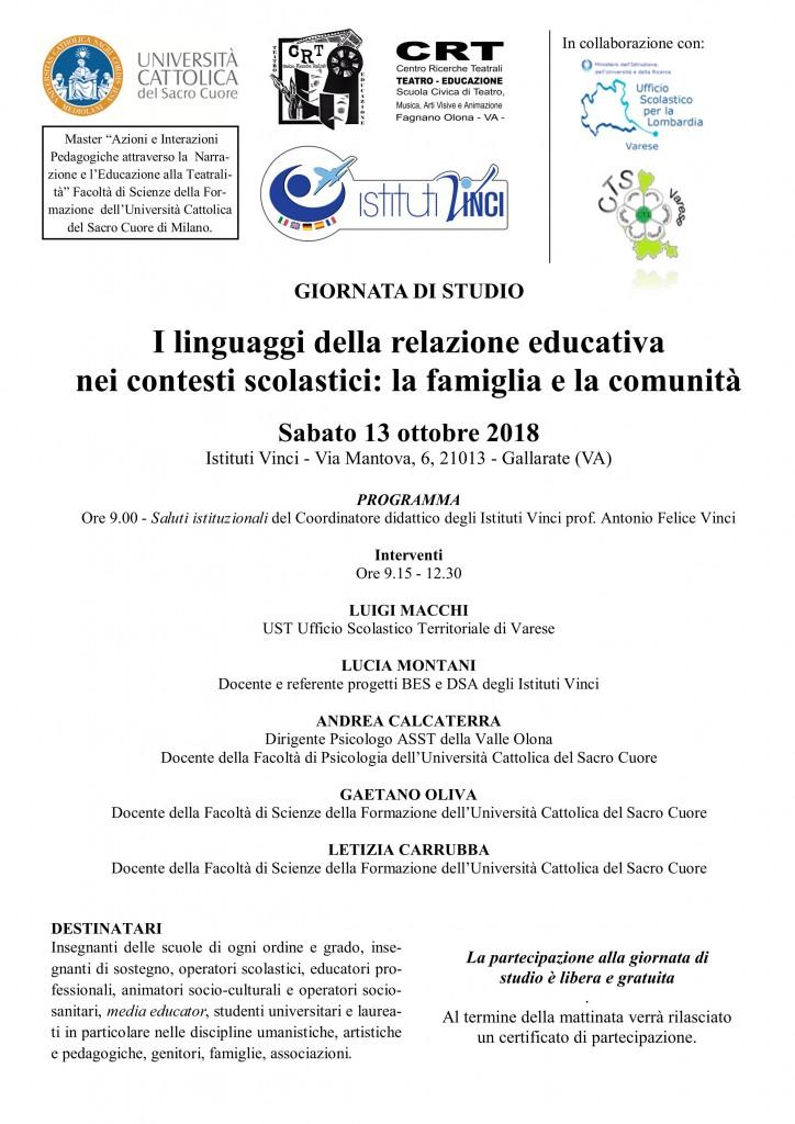 GIORNATA DI STUDIO 13 OTTOBRE