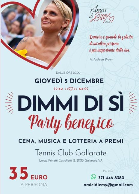 Volantino Party Benefico Dimmi di Si